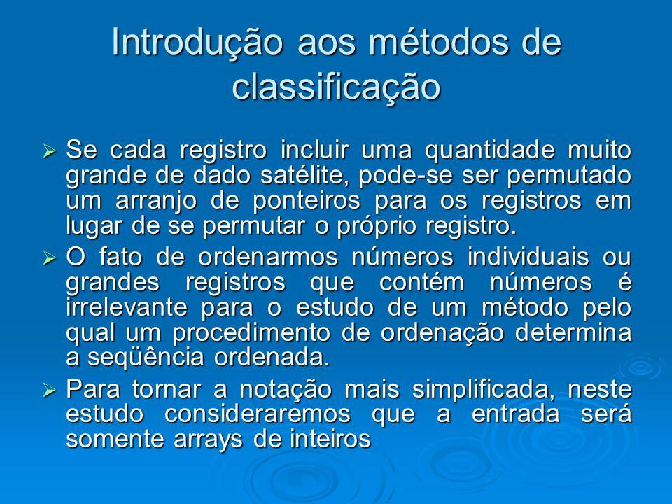 Introdução aos métodos de classificação Se cada registro incluir uma quantidade muito grande de dado satélite, pode-se ser permutado um arranjo de ponteiros para os registros em lugar de se permutar o próprio registro.