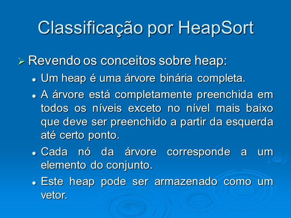 Classificação por HeapSort Revendo os conceitos sobre heap: Revendo os conceitos sobre heap: Um heap é uma árvore binária completa. Um heap é uma árvo