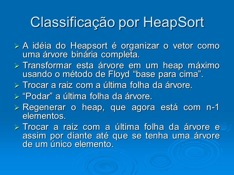 Classificação por HeapSort A idéia do Heapsort é organizar o vetor como uma árvore binária completa. A idéia do Heapsort é organizar o vetor como uma