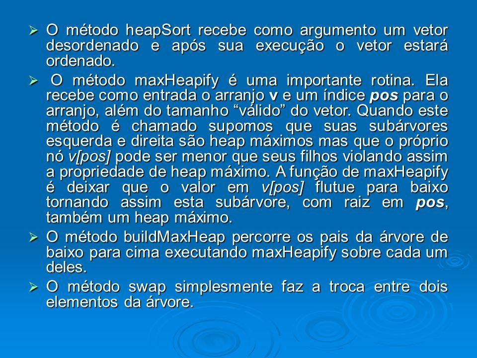 O método heapSort recebe como argumento um vetor desordenado e após sua execução o vetor estará ordenado. O método heapSort recebe como argumento um v