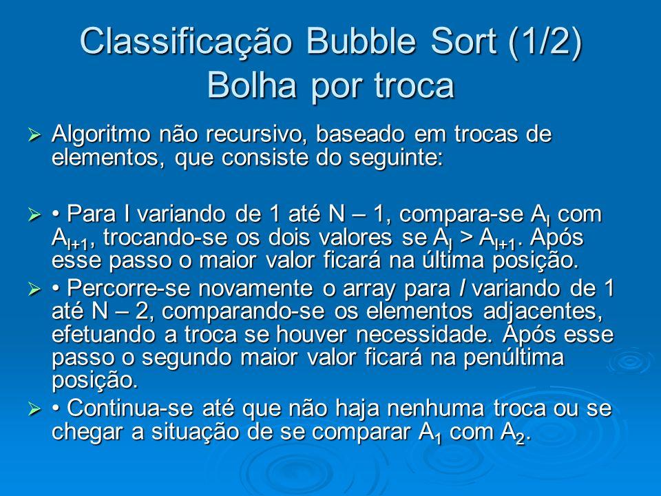 Classificação Bubble Sort (1/2) Bolha por troca Algoritmo não recursivo, baseado em trocas de elementos, que consiste do seguinte: Algoritmo não recursivo, baseado em trocas de elementos, que consiste do seguinte: Para I variando de 1 até N – 1, compara-se A I com A I+1, trocando-se os dois valores se A I > A I+1.