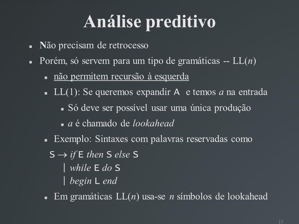 16 Parser preditivo S if E then S else S | begin S L | print E L end | ; S L E num = num void S( ) { switch(tok) { case IF: proxToken( ); E( ); reconhecer(THEN); S( ); reconhecer(else); S( ); break; case BEGIN: proxToken( ); S( ); L( ); break; case PRINT: proxToken( ); E( ); break; default: erro( ); } } Um procedimento para cada não terminal Um switch com um caso para cada produção