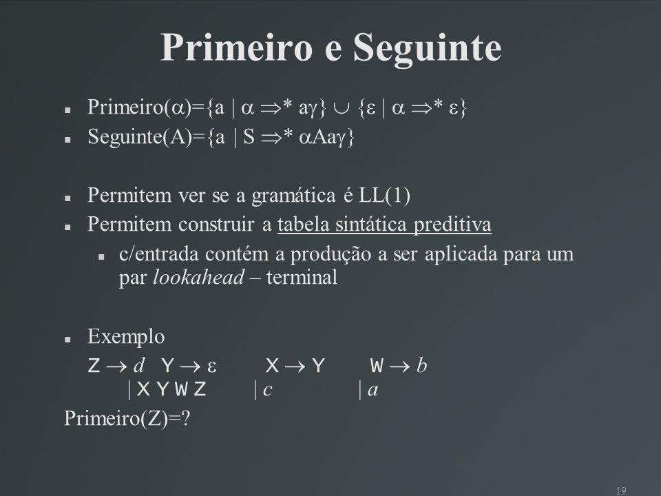 19 Primeiro e Seguinte Primeiro( )={a | * a } { | * } Seguinte(A)={a | S * Aa } Permitem ver se a gramática é LL(1) Permitem construir a tabela sintát