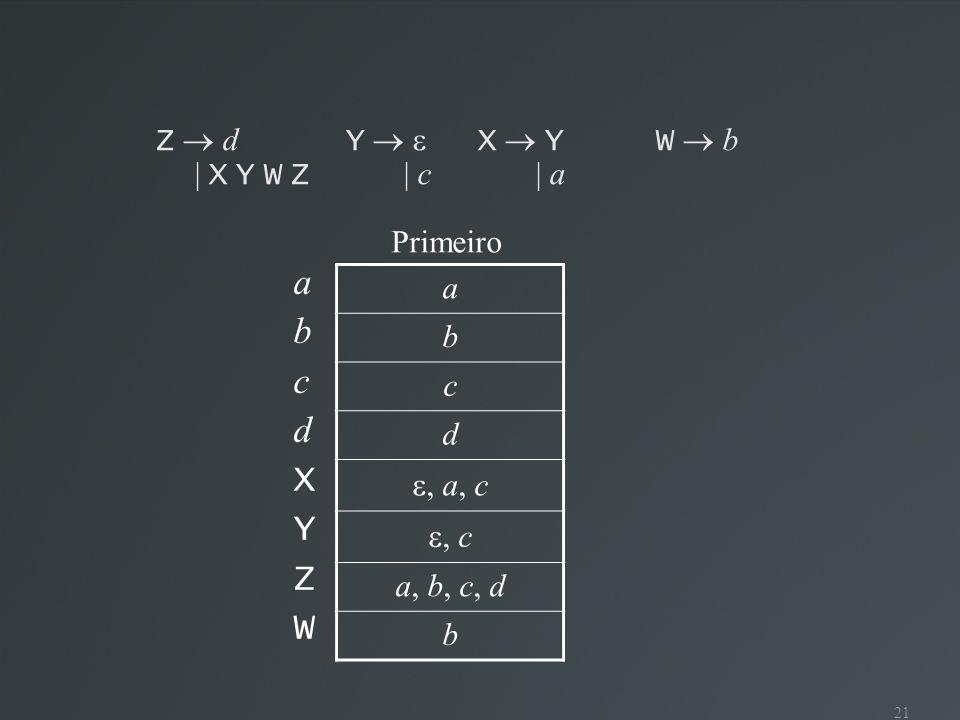 21 Z d Y X YW b | X Y W Z | c | a abcdXYZWabcdXYZW a b c d, a, c, c a, b, c, d b Primeiro