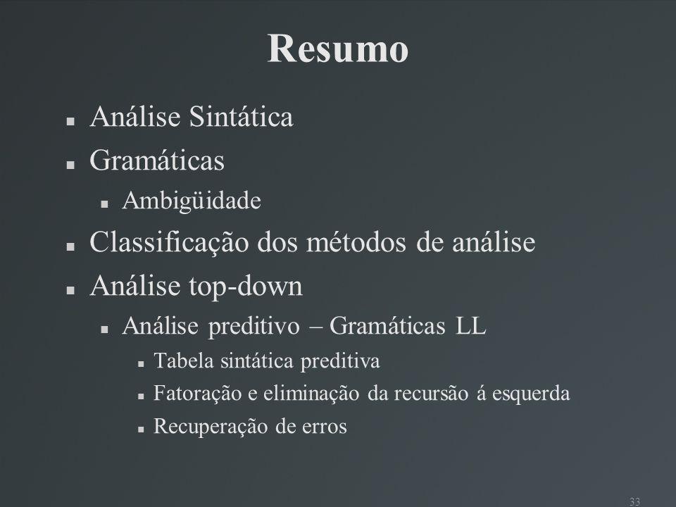 33 Resumo Análise Sintática Gramáticas Ambigüidade Classificação dos métodos de análise Análise top-down Análise preditivo – Gramáticas LL Tabela sint
