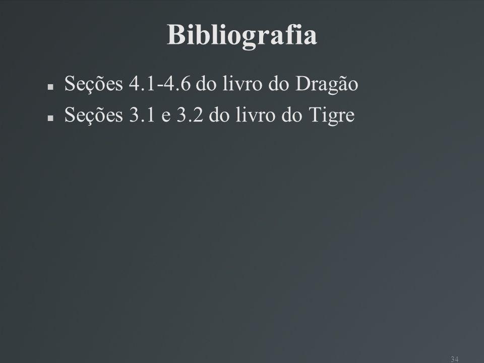 34 Bibliografia Seções 4.1-4.6 do livro do Dragão Seções 3.1 e 3.2 do livro do Tigre