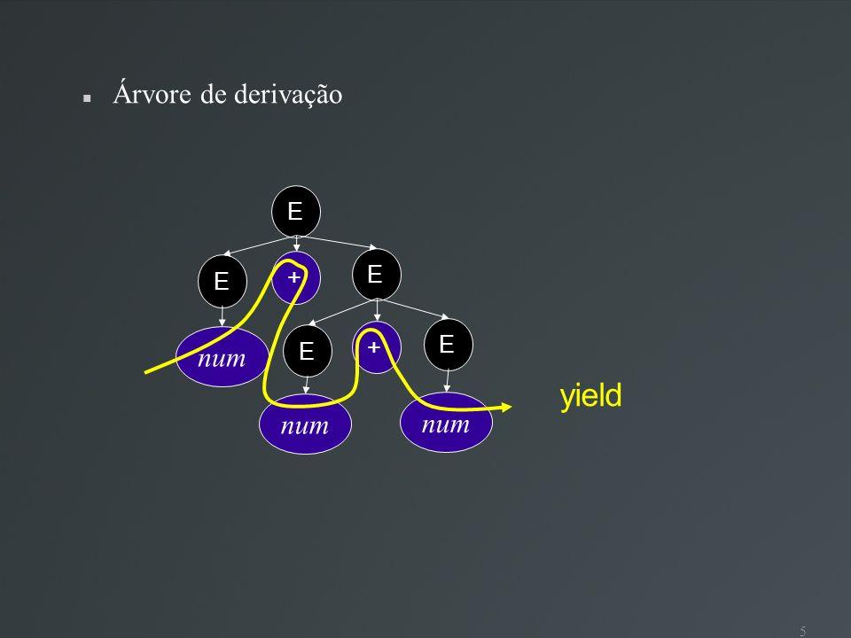 6 Derivação mais à esquerda E E+E E + E + E num + E + E num + num + E num + num + num Gramática é ambígua sse existe mais de uma árvore de derivação para uma mesma sentença (yield) sse existe mais de uma derivação mais à esquerda