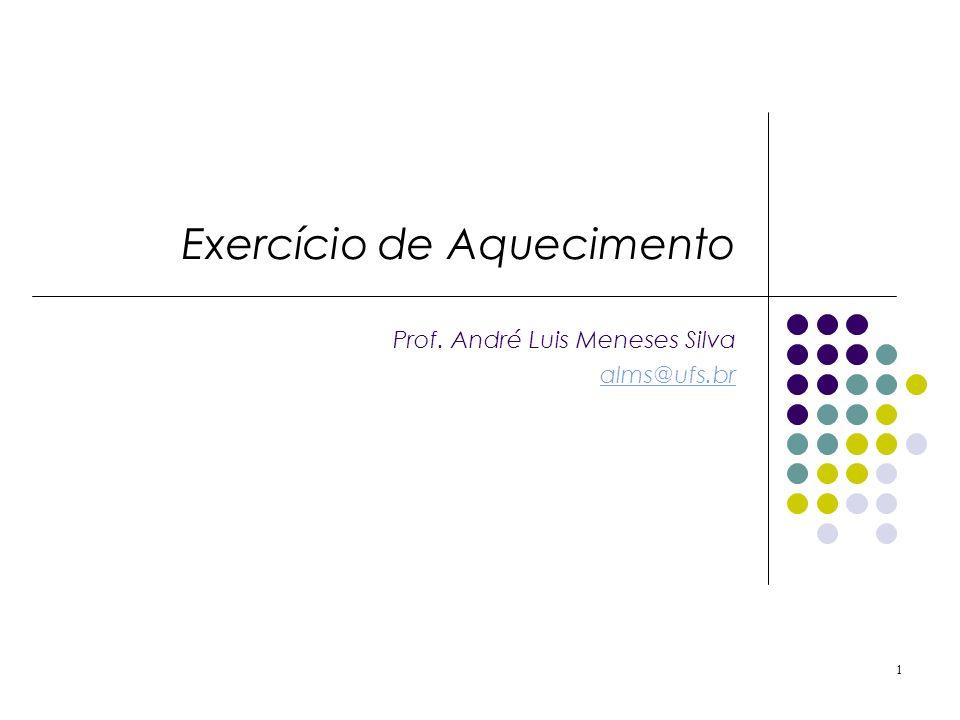 Exercício de Aquecimento Prof. André Luis Meneses Silva alms@ufs.br 1