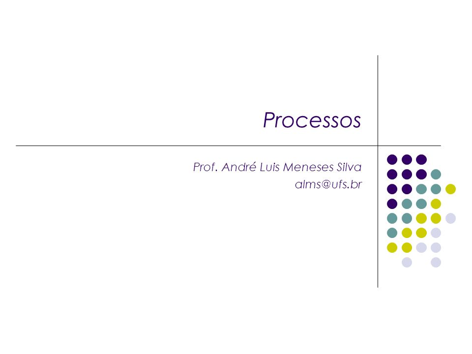 Processos Prof. André Luis Meneses Silva alms@ufs.br