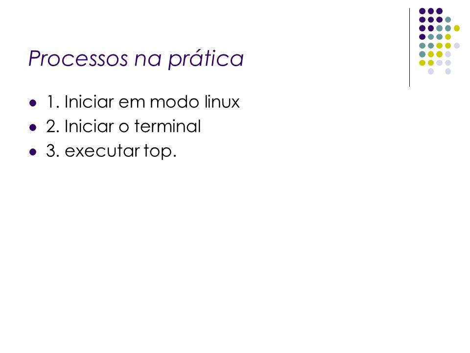 Processos na prática 1. Iniciar em modo linux 2. Iniciar o terminal 3. executar top.