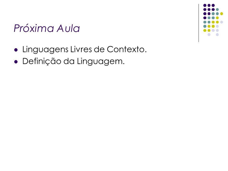 Próxima Aula Linguagens Livres de Contexto. Definição da Linguagem.
