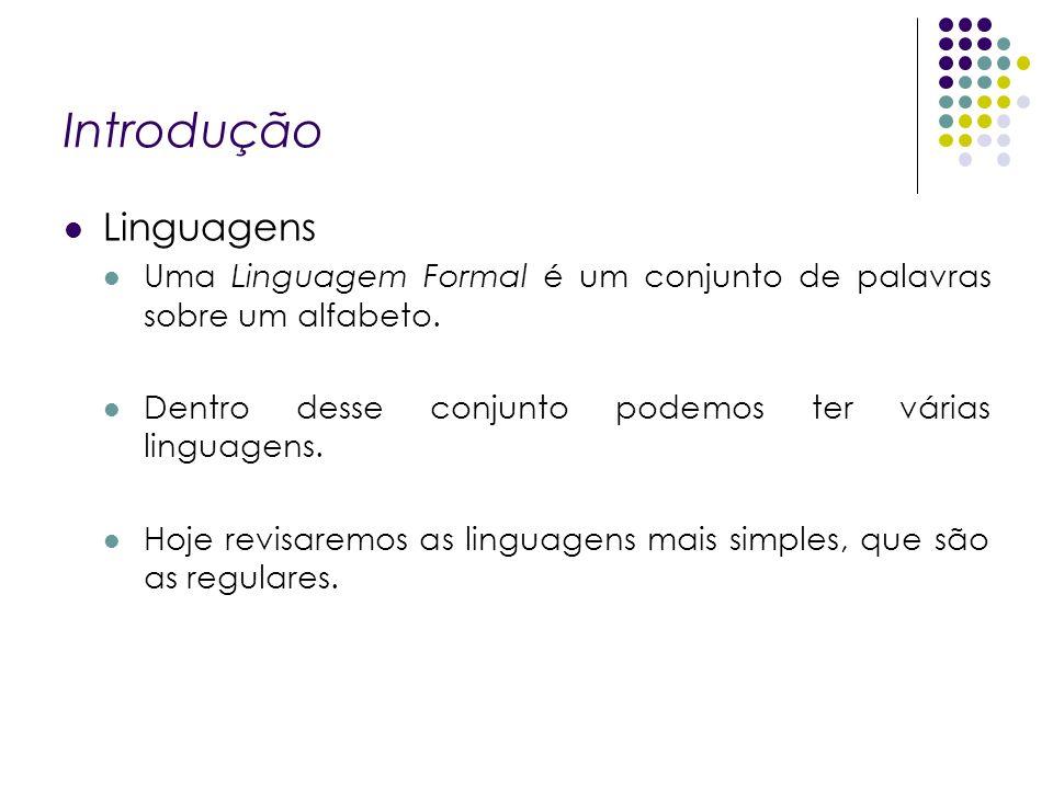 Introdução Linguagens Uma Linguagem Formal é um conjunto de palavras sobre um alfabeto. Dentro desse conjunto podemos ter várias linguagens. Hoje revi