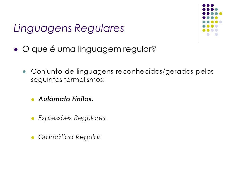 Linguagens Regulares O que é uma linguagem regular? Conjunto de linguagens reconhecidos/gerados pelos seguintes formalismos: Autômato Finitos. Express