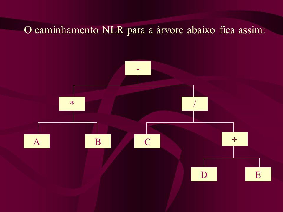 - */ AC + DE B O caminhamento NLR para a árvore abaixo fica assim: