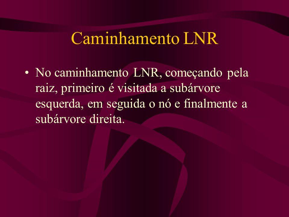 Caminhamento LNR No caminhamento LNR, começando pela raiz, primeiro é visitada a subárvore esquerda, em seguida o nó e finalmente a subárvore direita.