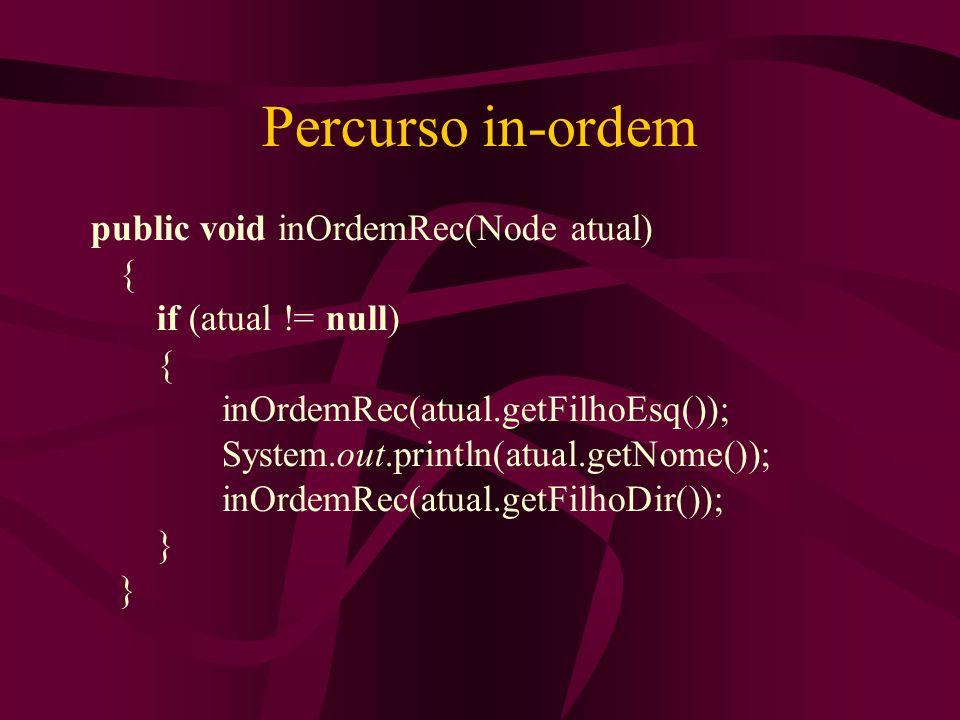 Percurso in-ordem public void inOrdemRec(Node atual) { if (atual != null) { inOrdemRec(atual.getFilhoEsq()); System.out.println(atual.getNome()); inOr