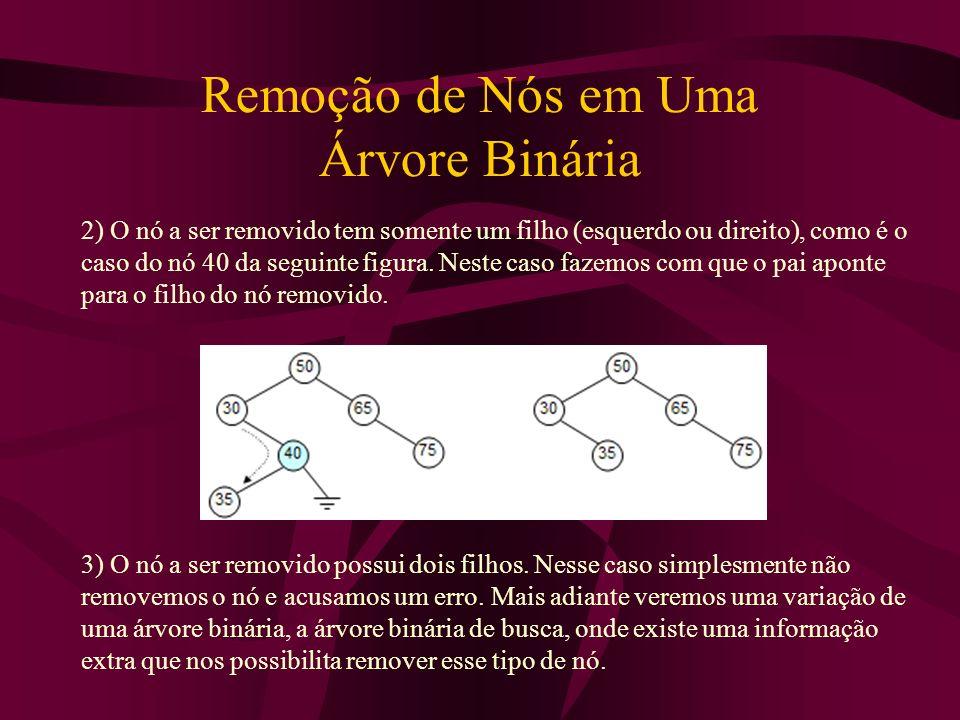 Remoção de Nós em Uma Árvore Binária 2) O nó a ser removido tem somente um filho (esquerdo ou direito), como é o caso do nó 40 da seguinte figura. Nes