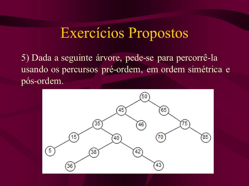 Exercícios Propostos 5) Dada a seguinte árvore, pede-se para percorrê-la usando os percursos pré-ordem, em ordem simétrica e pós-ordem.