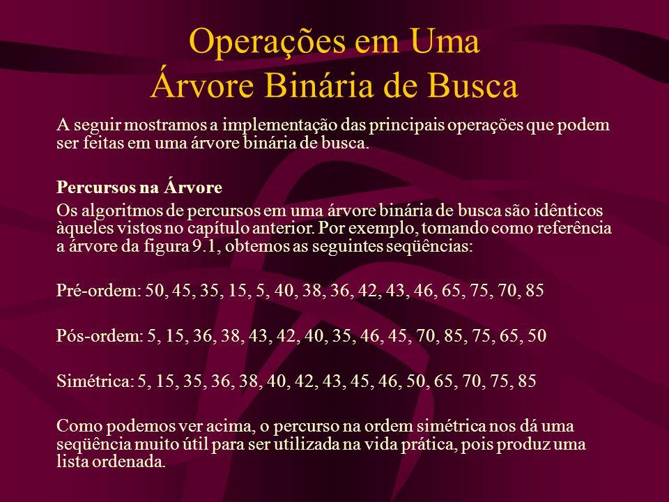 Operações em Uma Árvore Binária de Busca A seguir mostramos a implementação das principais operações que podem ser feitas em uma árvore binária de bus