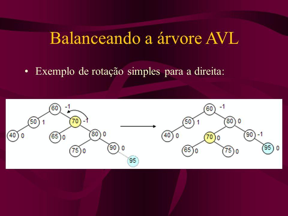 Balanceando a árvore AVL Exemplo de rotação simples para a direita: