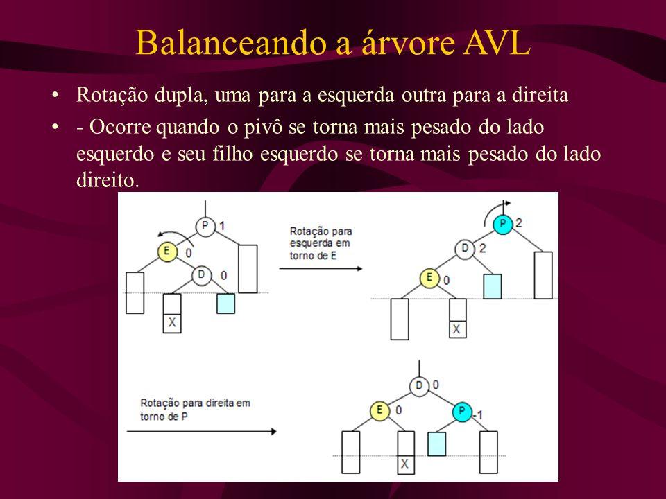 Balanceando a árvore AVL Rotação dupla, uma para a esquerda outra para a direita - Ocorre quando o pivô se torna mais pesado do lado esquerdo e seu fi