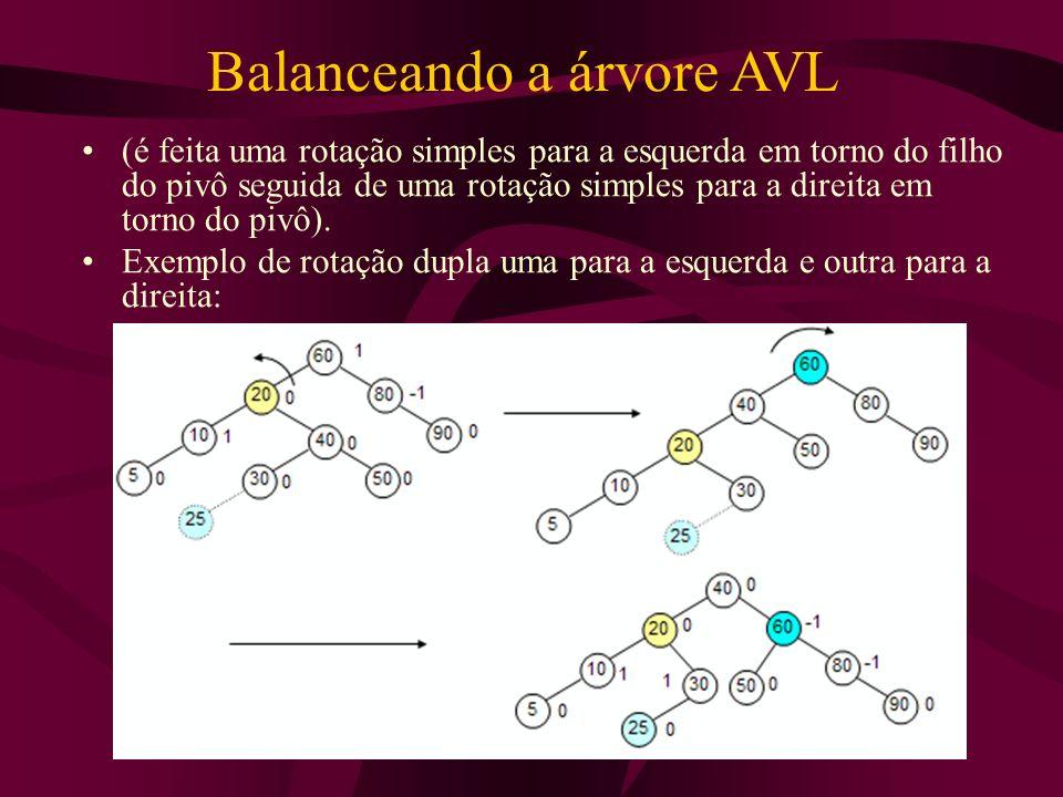 Balanceando a árvore AVL (é feita uma rotação simples para a esquerda em torno do filho do pivô seguida de uma rotação simples para a direita em torno