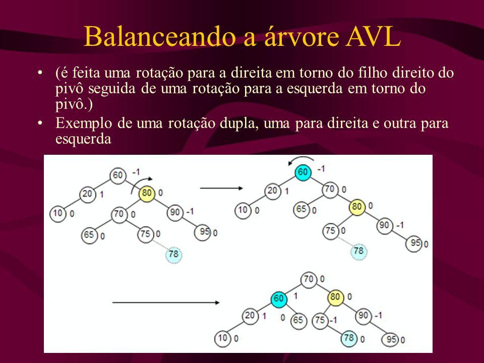 Balanceando a árvore AVL (é feita uma rotação para a direita em torno do filho direito do pivô seguida de uma rotação para a esquerda em torno do pivô