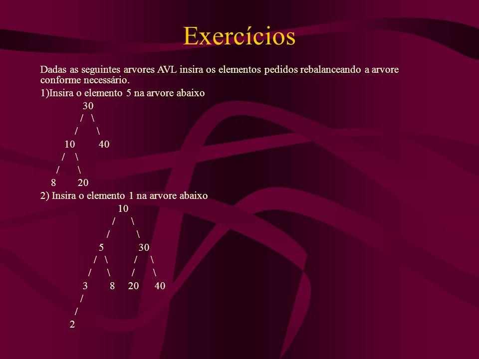 Exercícios Dadas as seguintes arvores AVL insira os elementos pedidos rebalanceando a arvore conforme necessário. 1)Insira o elemento 5 na arvore abai