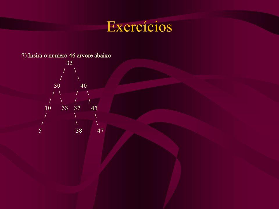 7) Insira o numero 46 arvore abaixo 35 / \ 30 40 / \ / \ 10 33 37 45 / \ \ 5 38 47 Exercícios