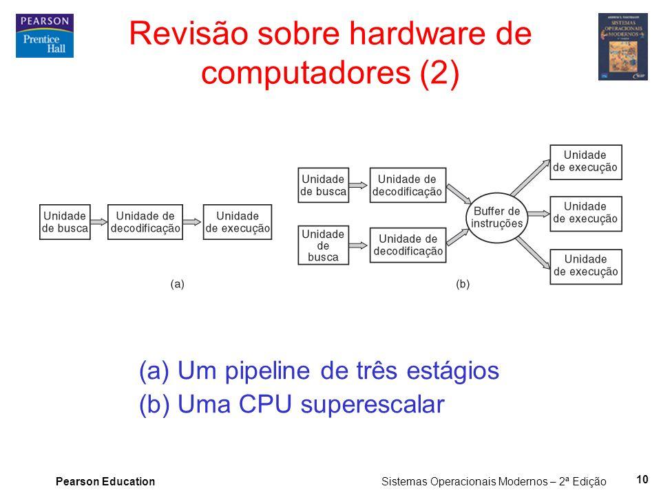 Pearson Education Sistemas Operacionais Modernos – 2ª Edição 10 Revisão sobre hardware de computadores (2) (a) Um pipeline de três estágios (b) Uma CP