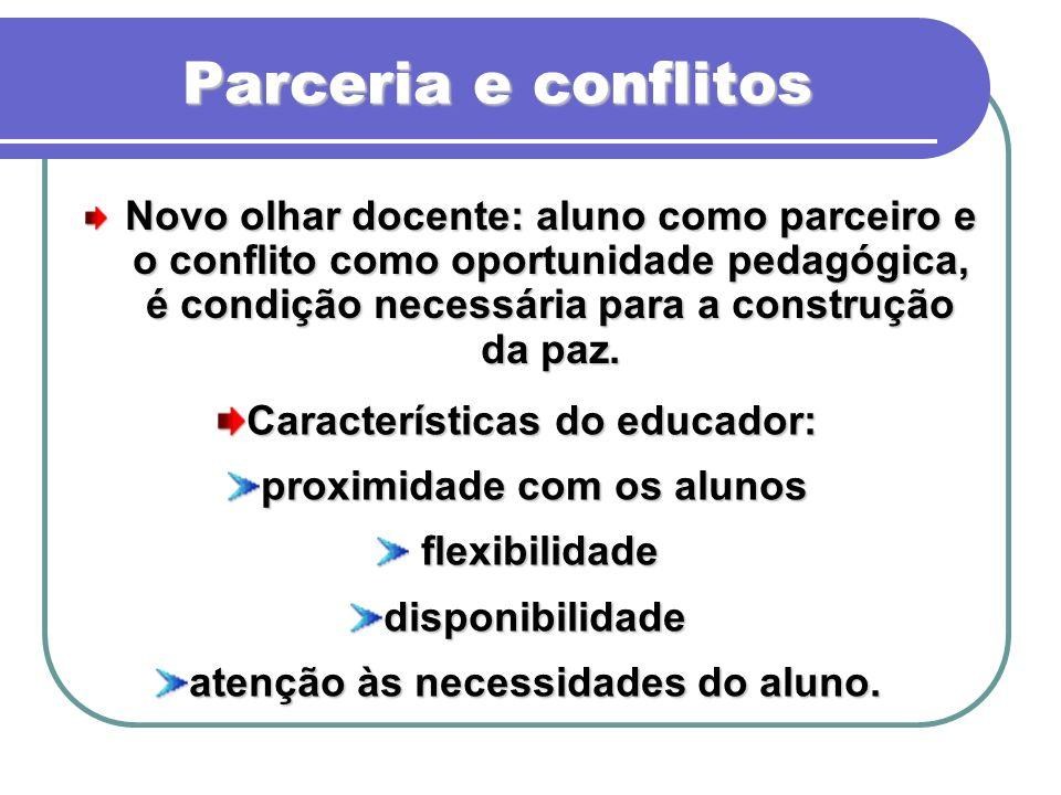 Parceria e conflitos Novo olhar docente: aluno como parceiro e o conflito como oportunidade pedagógica, é condição necessária para a construção da paz