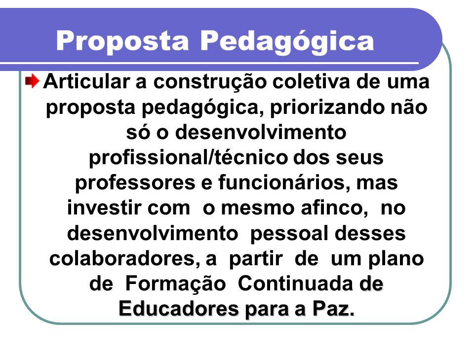Proposta Pedagógica de Educadores para a Paz. Articular a construção coletiva de uma proposta pedagógica, priorizando não só o desenvolvimento profiss