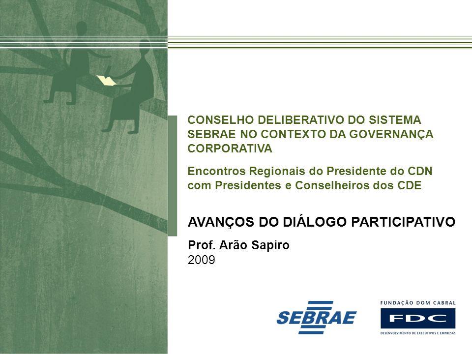 Material preparado e de responsabilidade do professor Arão Sapiro AVANÇOS DO DIÁLOGO PARTICIPATIVO Prof. Arão Sapiro 2009 CONSELHO DELIBERATIVO DO SIS