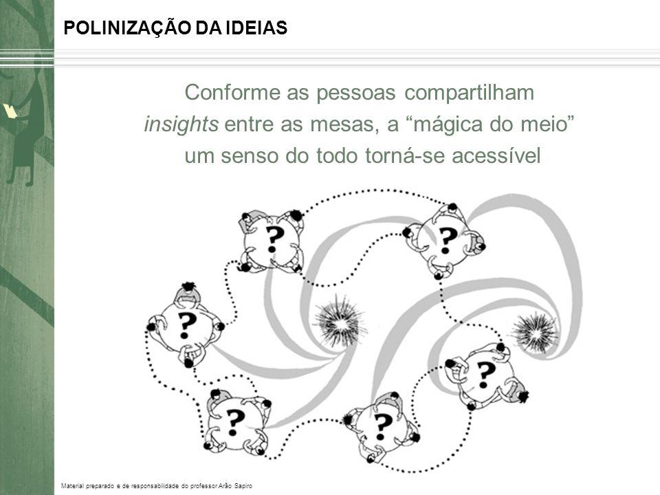 Material preparado e de responsabilidade do professor Arão Sapiro POLINIZAÇÃO DA IDEIAS Conforme as pessoas compartilham insights entre as mesas, a má
