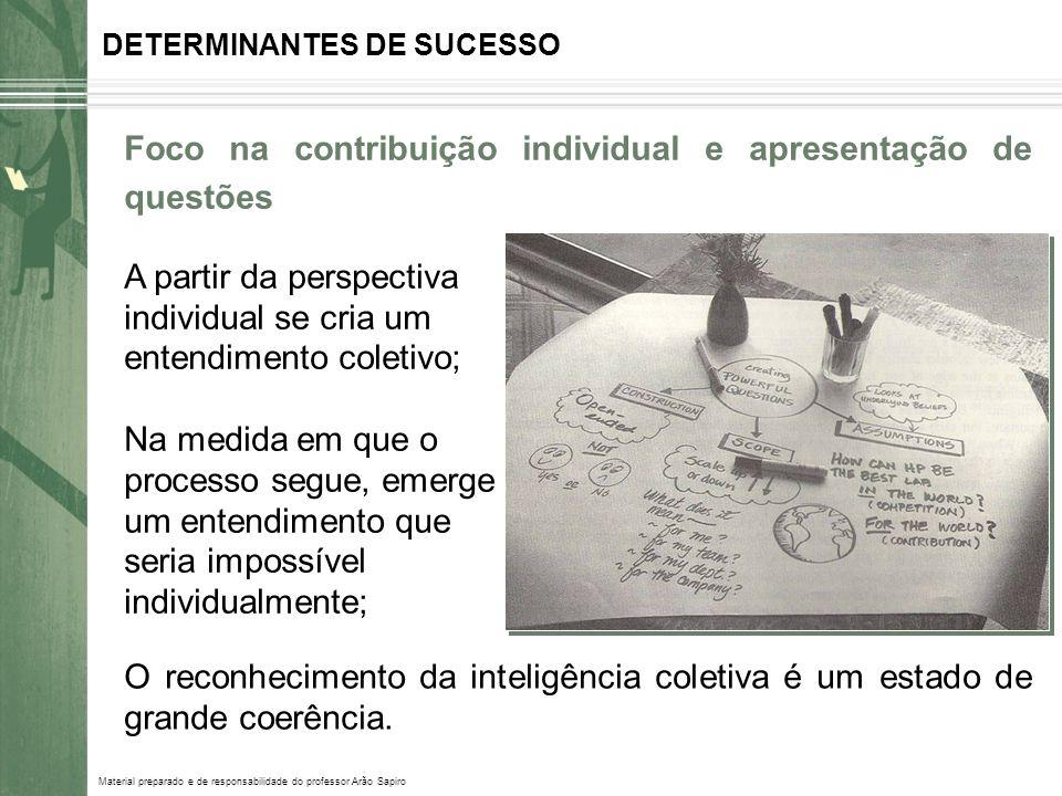 Material preparado e de responsabilidade do professor Arão Sapiro DETERMINANTES DE SUCESSO Foco na contribuição individual e apresentação de questões