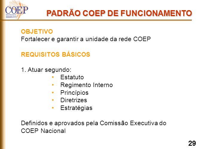 PADRÃO COEP DE FUNCIONAMENTO OBJETIVO Fortalecer e garantir a unidade da rede COEP REQUISITOS BÁSICOS 1.