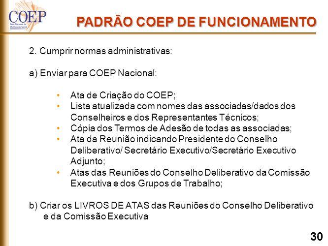 2. Cumprir normas administrativas: a) Enviar para COEP Nacional: Ata de Criação do COEP; Lista atualizada com nomes das associadas/dados dos Conselhei