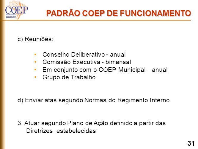 c) Reuniões: Conselho Deliberativo - anual Comissão Executiva - bimensal Em conjunto com o COEP Municipal – anual Grupo de Trabalho d) Enviar atas segundo Normas do Regimento Interno 3.