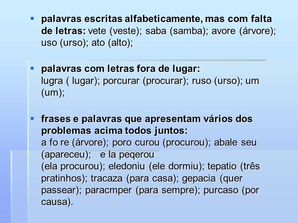 palavras escritas alfabeticamente, mas com falta de letras: vete (veste); saba (samba); avore (árvore); uso (urso); ato (alto); palavras escritas alfabeticamente, mas com falta de letras: vete (veste); saba (samba); avore (árvore); uso (urso); ato (alto); palavras com letras fora de lugar: lugra ( lugar); porcurar (procurar); ruso (urso); um (um); palavras com letras fora de lugar: lugra ( lugar); porcurar (procurar); ruso (urso); um (um); frases e palavras que apresentam vários dos problemas acima todos juntos: a fo re (árvore); poro curou (procurou); abale seu (apareceu); e la peqerou (ela procurou); eledoniu (ele dormiu); tepatio (três pratinhos); tracaza (para casa); gepacia (quer passear); paracmper (para sempre); purcaso (por causa).