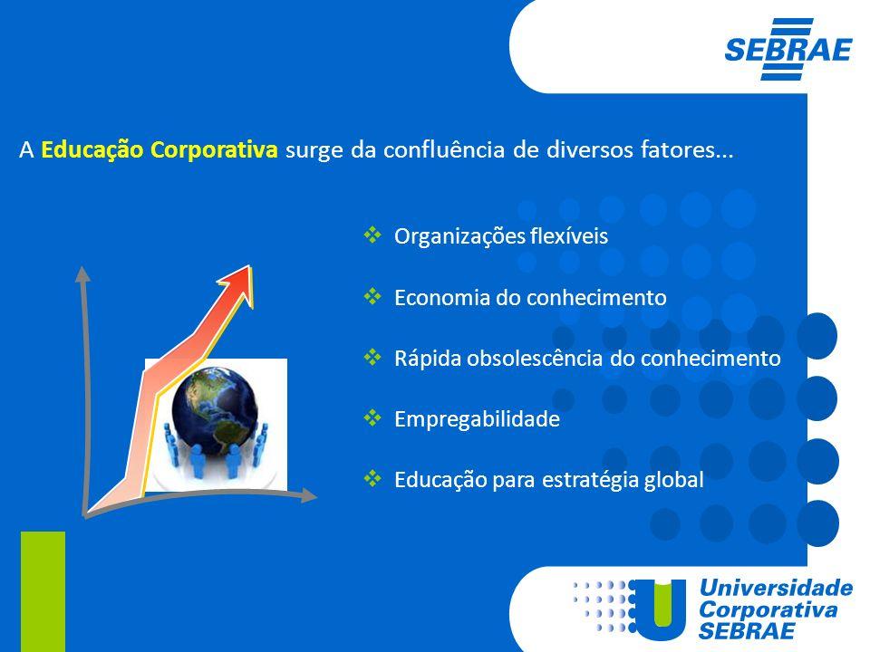 Organizações flexíveis Economia do conhecimento Rápida obsolescência do conhecimento Empregabilidade Educação para estratégia global A Educação Corpor
