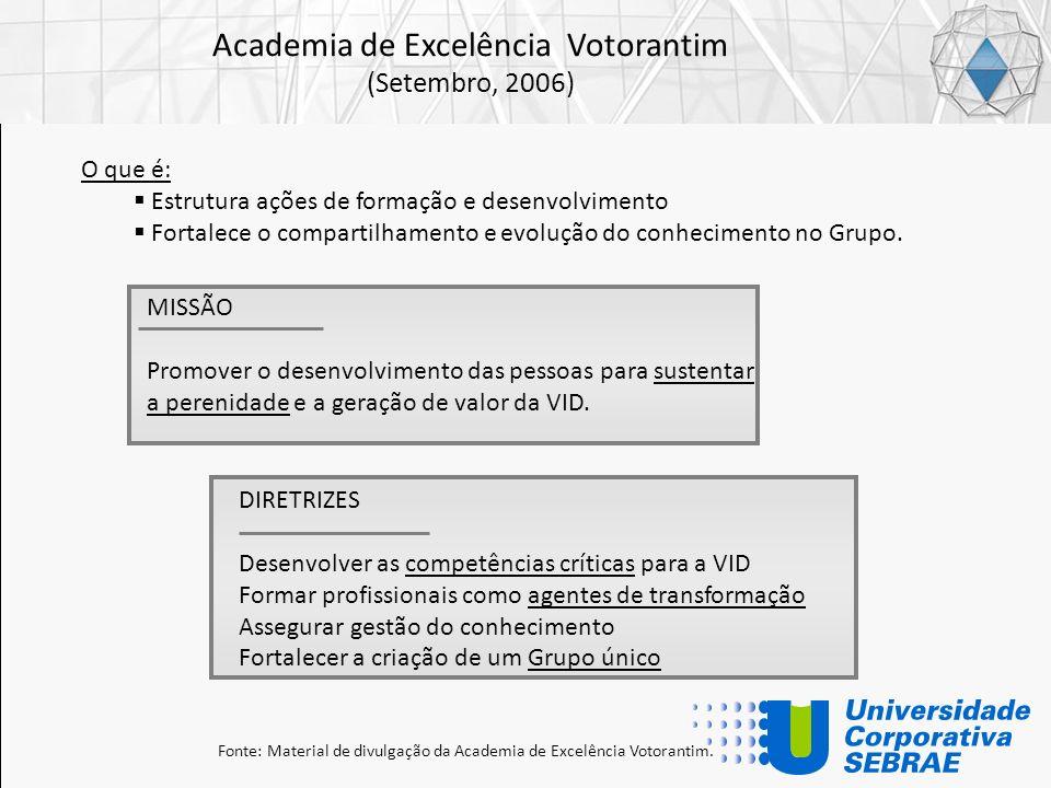 Academia de Excelência Votorantim (Setembro, 2006) MISSÃO Promover o desenvolvimento das pessoas para sustentar a perenidade e a geração de valor da V
