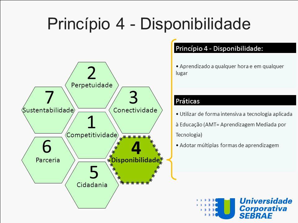 Princípio 4 - Disponibilidade Competitividade Perpetuidade Cidadania Disponibilidade Sustentabilidade Parceria 1 2 5 4 7 6 Aprendizado a qualquer hora