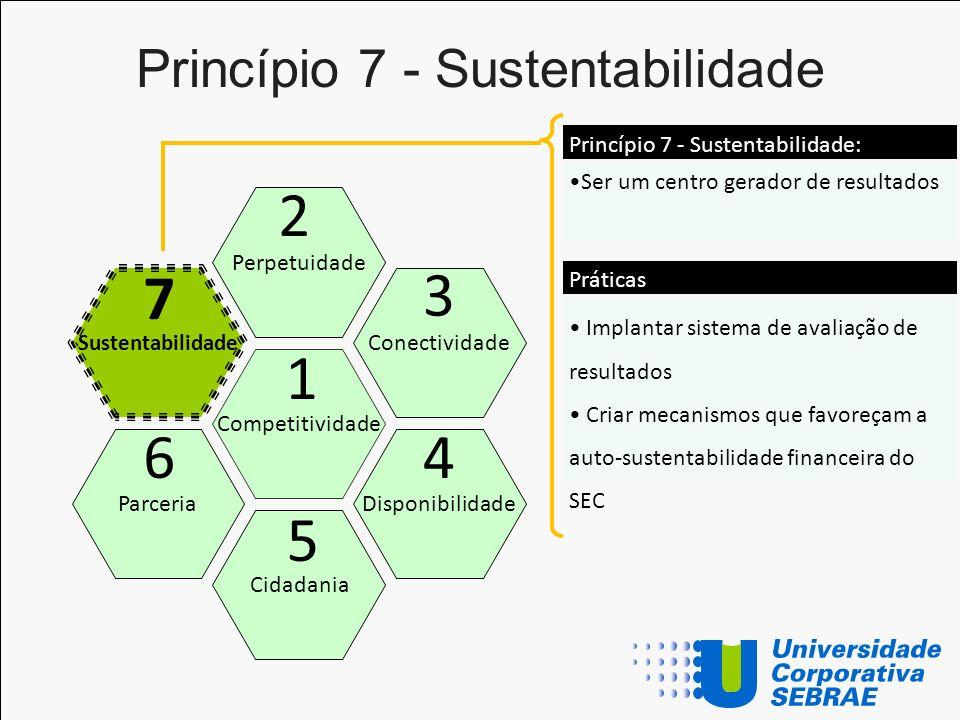 Princípio 7 - Sustentabilidade Competitividade Perpetuidade Cidadania Conectividade Disponibilidade Sustentabilidade Parceria 1 2 5 3 4 7 6 Ser um cen