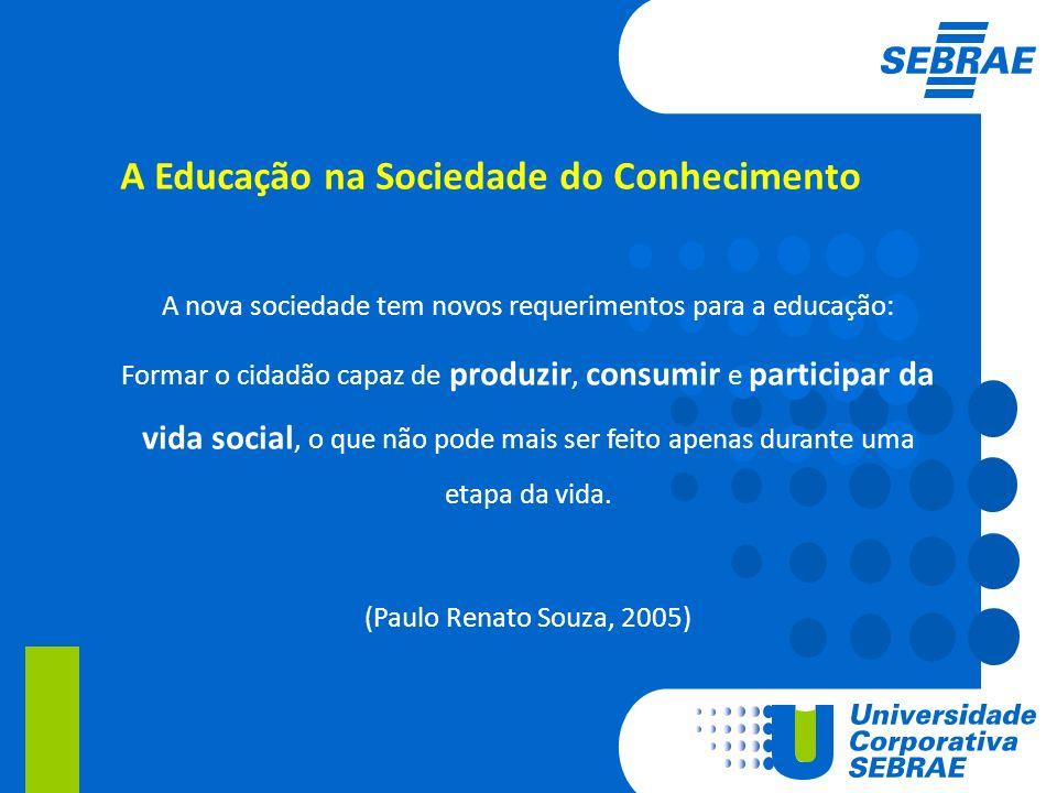 A Educação na Sociedade do Conhecimento A nova sociedade tem novos requerimentos para a educação: Formar o cidadão capaz de produzir, consumir e parti