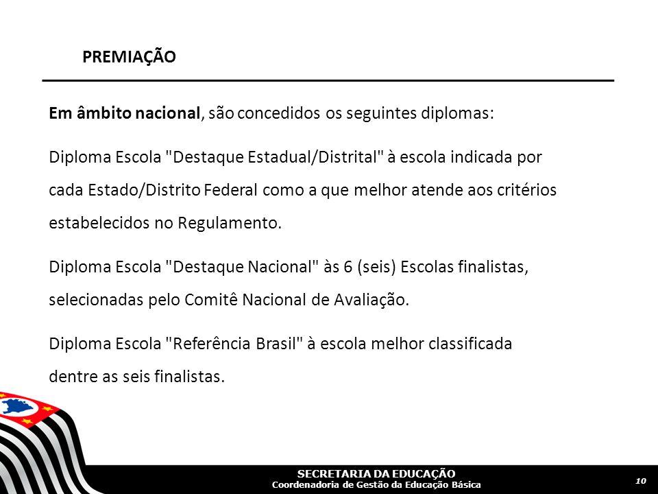 SECRETARIA DA EDUCAÇÃO Coordenadoria de Gestão da Educação Básica PREMIAÇÃO 10 Em âmbito nacional, são concedidos os seguintes diplomas: Diploma Escol