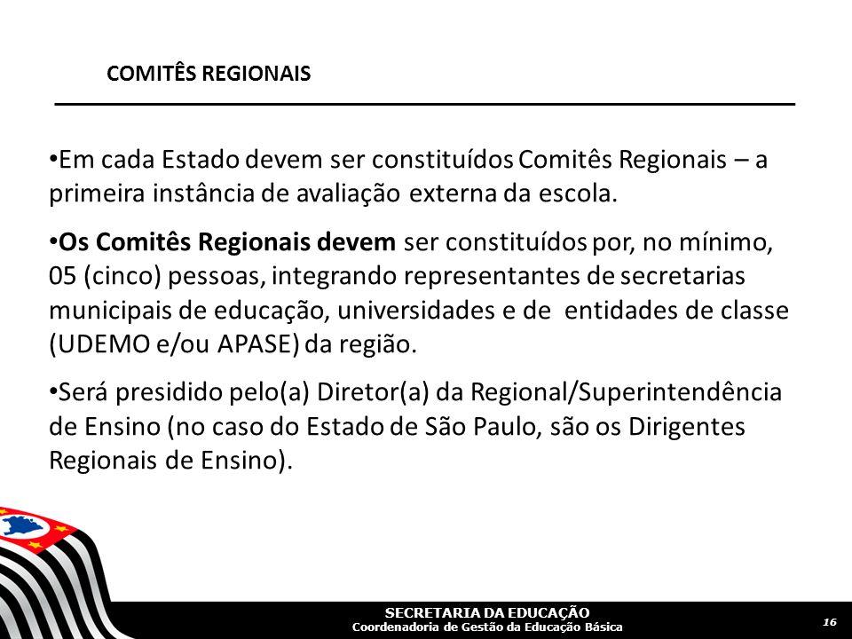 SECRETARIA DA EDUCAÇÃO Coordenadoria de Gestão da Educação Básica COMITÊS REGIONAIS Em cada Estado devem ser constituídos Comitês Regionais – a primei