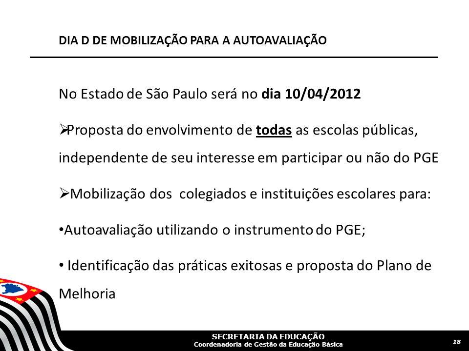 SECRETARIA DA EDUCAÇÃO Coordenadoria de Gestão da Educação Básica DIA D DE MOBILIZAÇÃO PARA A AUTOAVALIAÇÃO No Estado de São Paulo será no dia 10/04/2