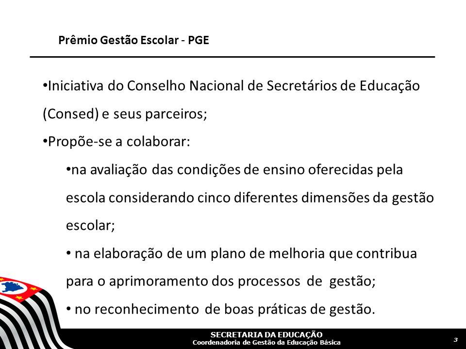 SECRETARIA DA EDUCAÇÃO Coordenadoria de Gestão da Educação Básica Prêmio Gestão Escolar - PGE Iniciativa do Conselho Nacional de Secretários de Educaç