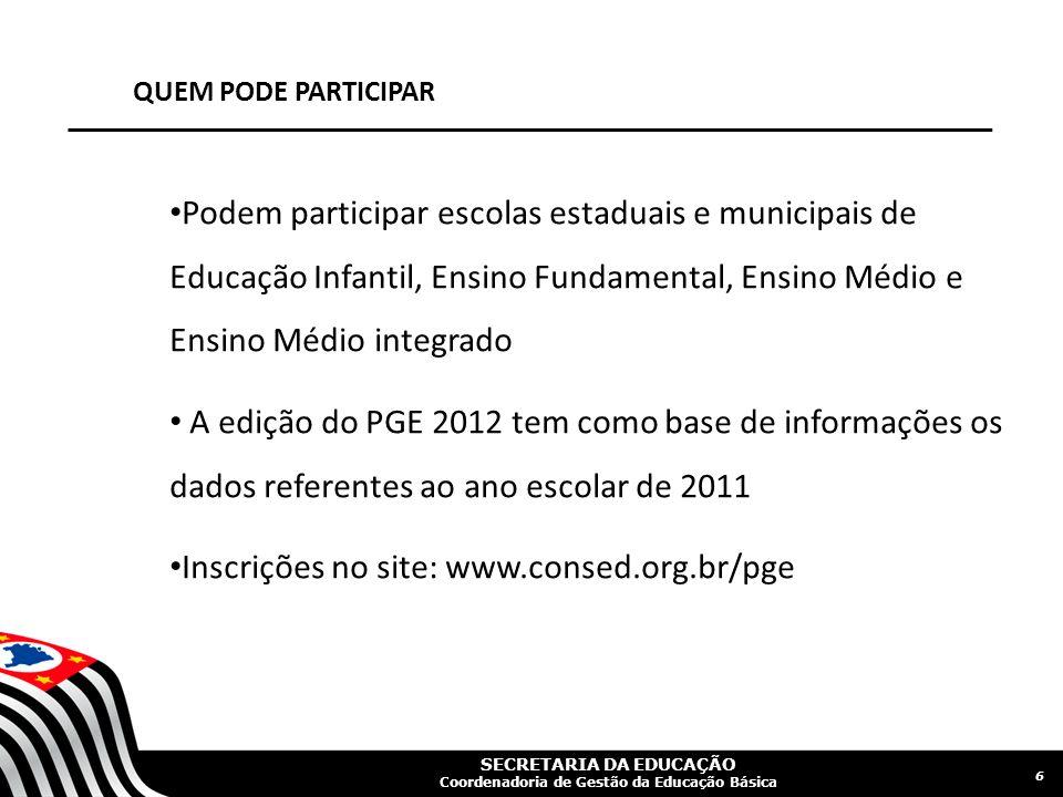 SECRETARIA DA EDUCAÇÃO Coordenadoria de Gestão da Educação Básica QUEM PODE PARTICIPAR Podem participar escolas estaduais e municipais de Educação Inf