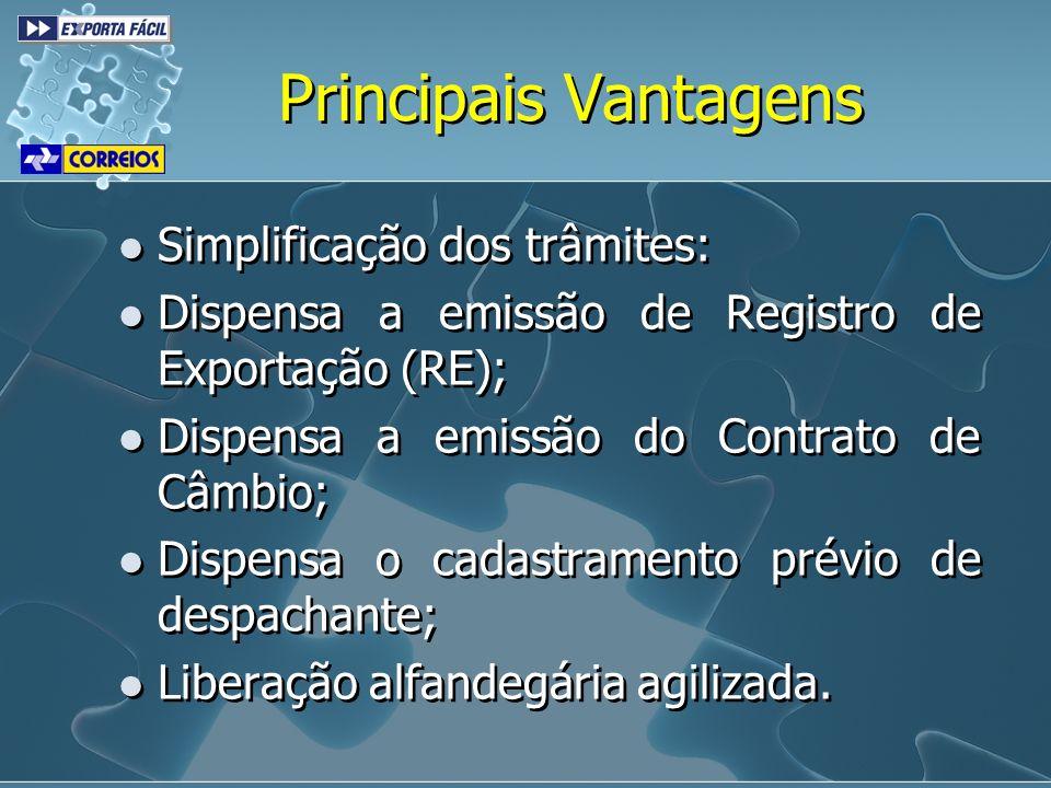 Simplificação dos trâmites: Dispensa a emissão de Registro de Exportação (RE); Dispensa a emissão do Contrato de Câmbio; Dispensa o cadastramento prév
